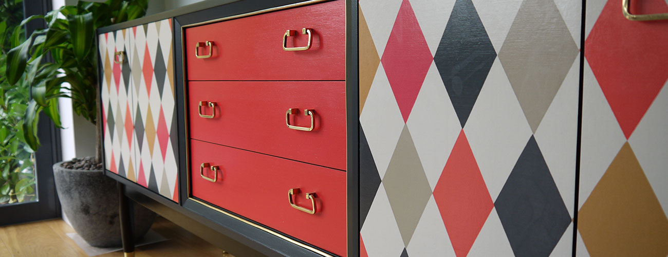 Upcycled G-Plan sideboard, harlequin
