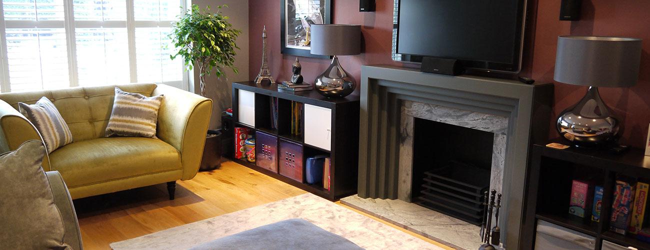 Grey fire surround, grey, plumb, TV snug