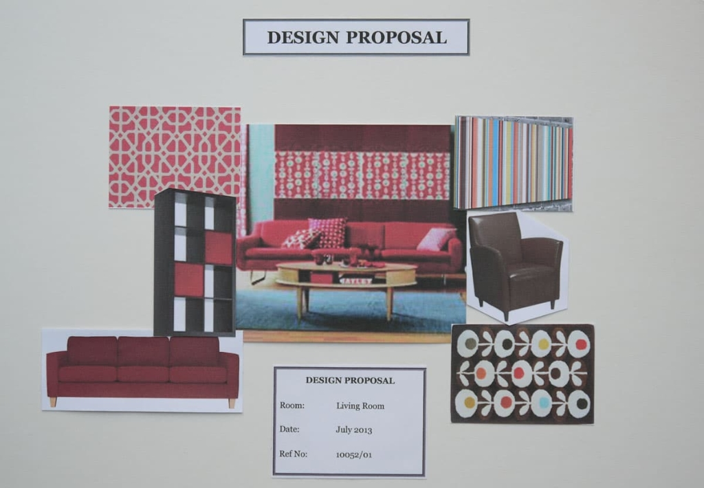 Living room concept board in red and biscuit