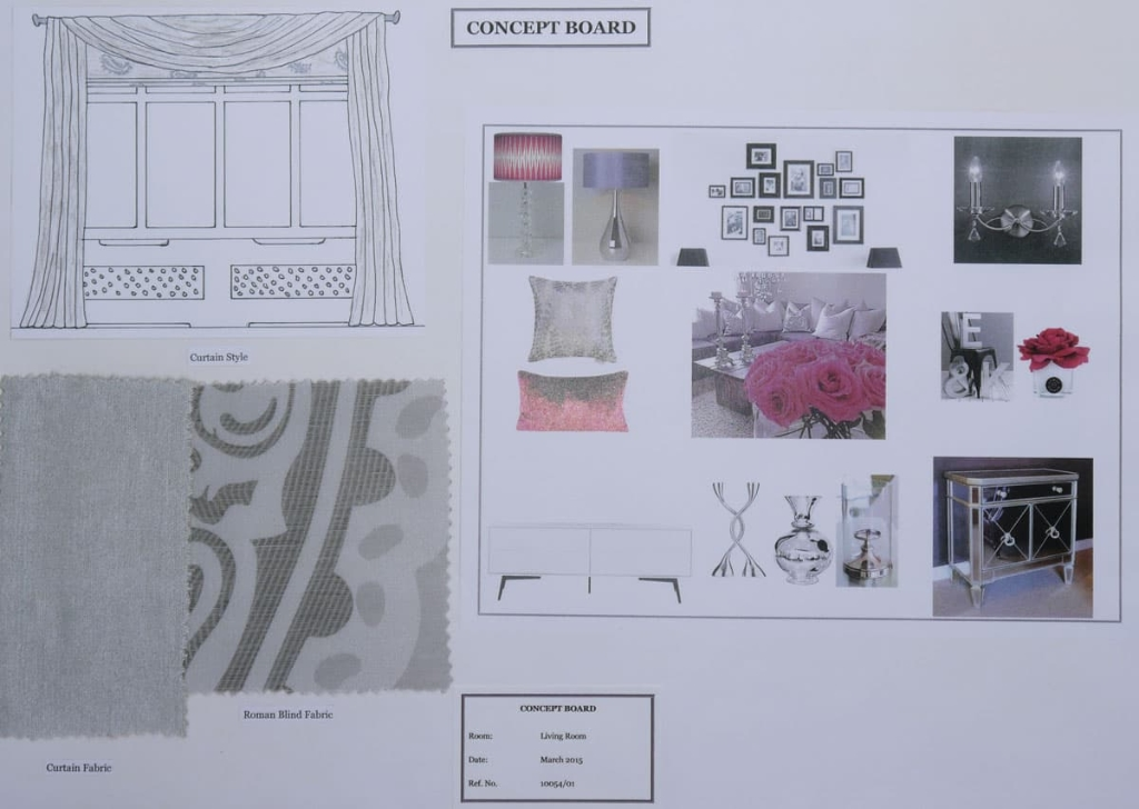 Contemporary Living Room Concept Board in grey and pink, Curtain Design
