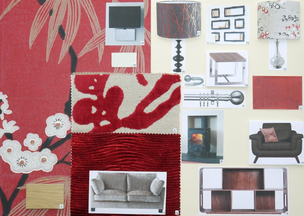 Modern Living Room Moodboard in red