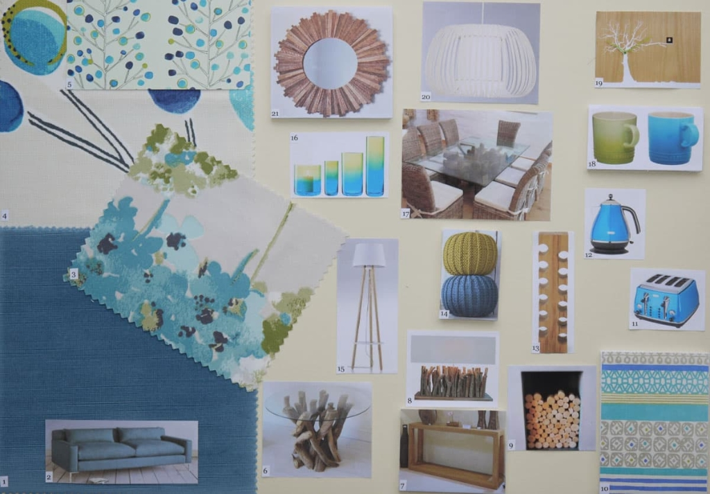 Open plan living-dining area moodboard in teal and lime