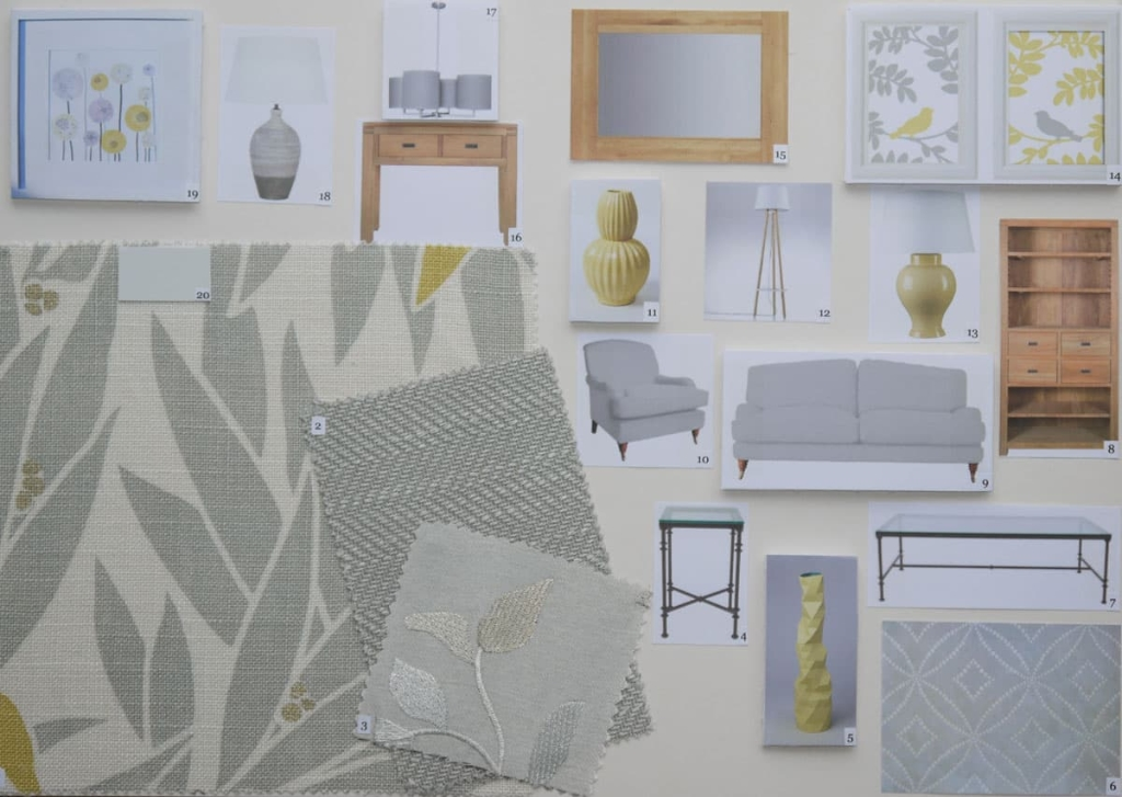 Living room mood board in grey and yellow