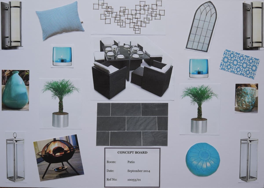 Patio concept board in sea blue and grey