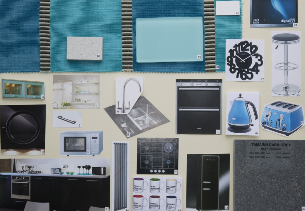 Kitchen mood board in teal and black