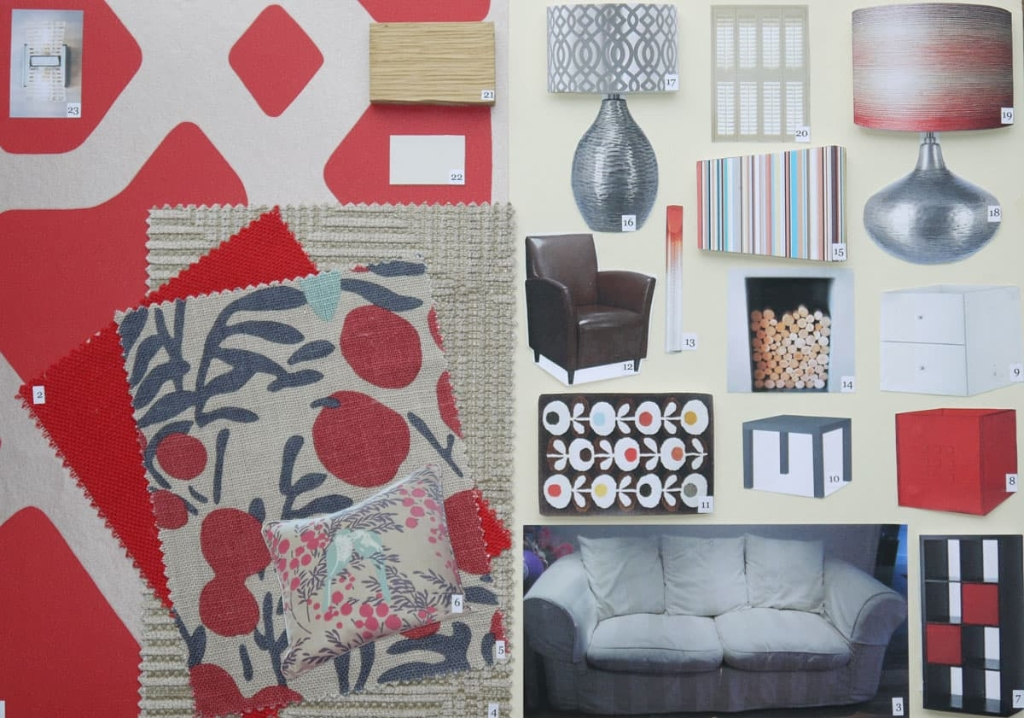 Living room mood board in red
