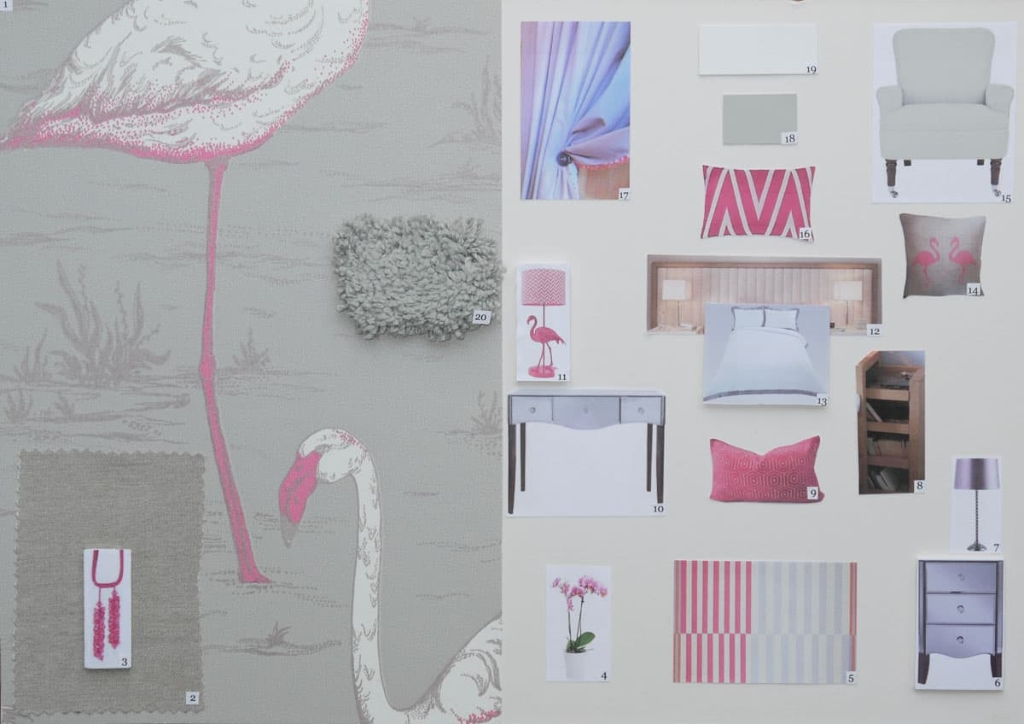 Loft bedroom mood board with flamingo wall paper