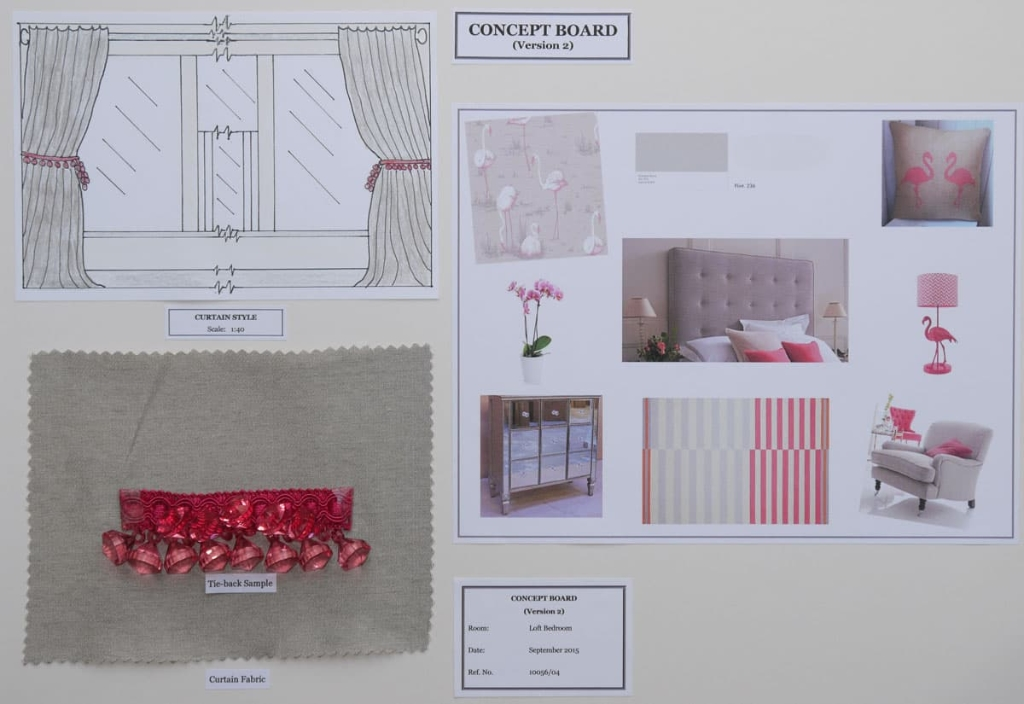 Interior design concept board, bedroom