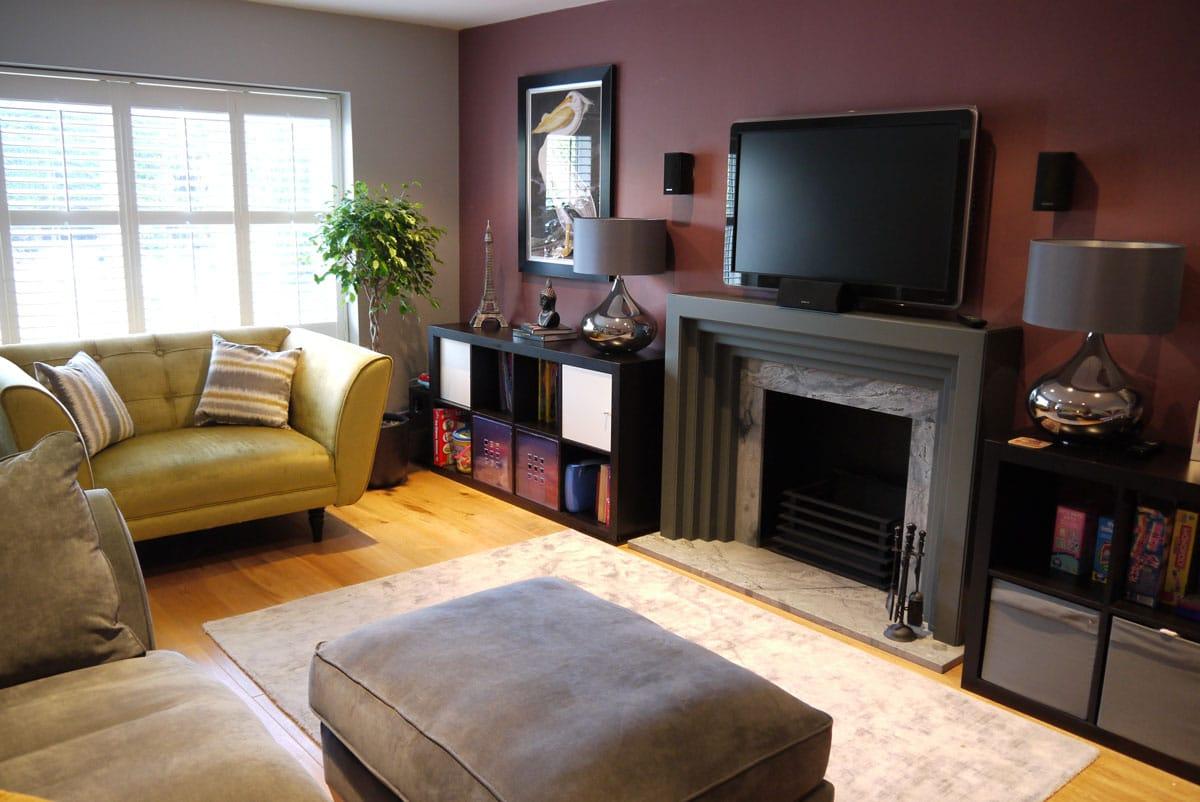 TV snug, bespoke grey fire surround