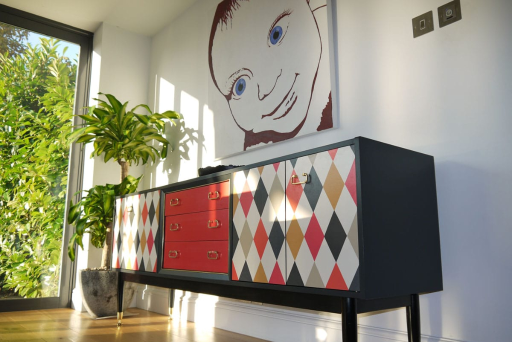 Cole and Son Whimsical, upcycled sideboard, g-plan