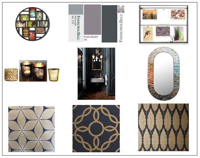 Modern Bathroom Concept Board in black and gold