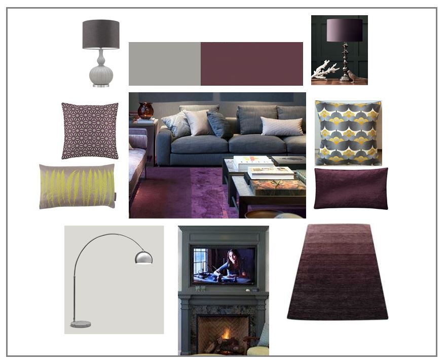 Grey and Plum Moodboard