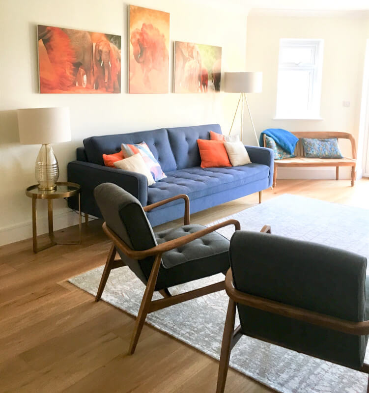 Colourful Scandi Style Living Room