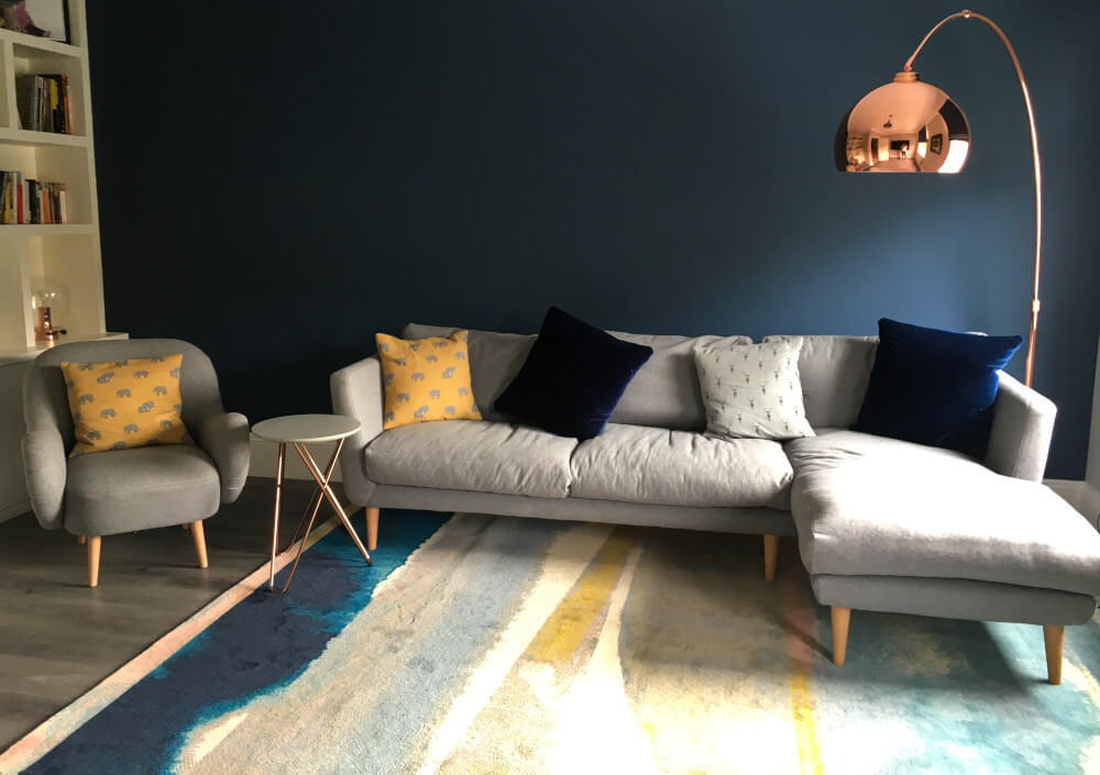 Colourful Scandinavian Living Room in Surbiton with Grey L-shaped sofa and Copper Floorlamp, blue and yellow colour scheme