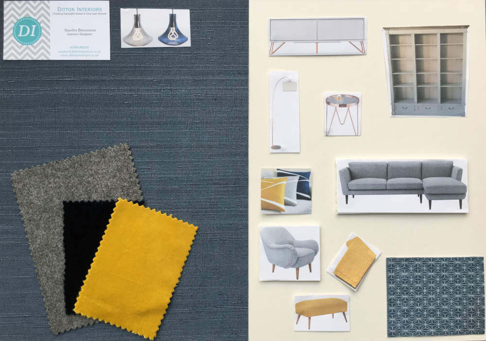 Colourful Scandinavian Living Room Surbiton Moodboard, Grey and Blue colour scheme with yellow accent colours
